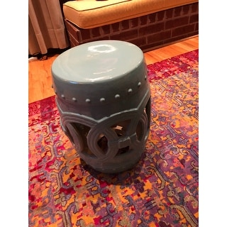 Abbyson Moroccan Turquoise Ceramic Garden Stool Free