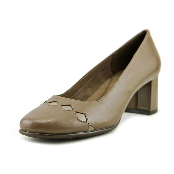 Aerosoles Boxcar Women Round Toe Leather Tan Heels