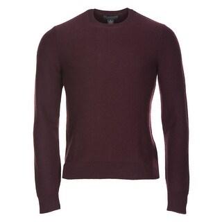 Bloomingdales Mens Pure Cashmere Herringbone Crewneck Sweater Small S Burgundy