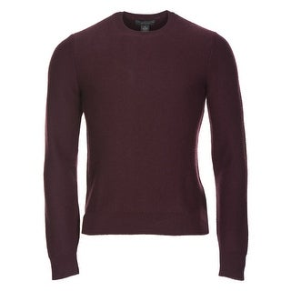 Bloomingdales Pure Cashmere Crewneck Herringbone Sweater Burgundy Small