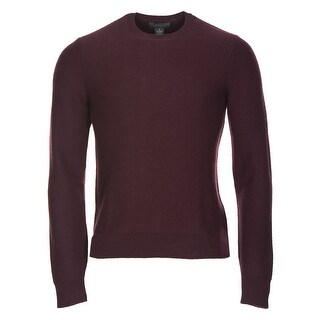 Bloomingdales Pure Cashmere Crewneck Herringbone Sweater Burgundy XX-Large