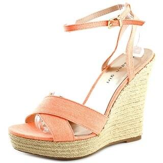 Madden Girl Viicki Women  Open Toe Canvas Orange Wedge Sandal