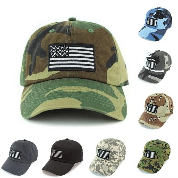 34645905bcbc Newhattan Embroidered USA flag baseball cap 100% cotton Black Flag