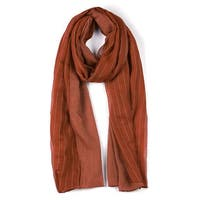Long Striped Solid Color Scarf for Women Orange-2