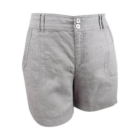 INC International Concepts Women's Linen Shorts (16, Sky Grey) - Sky Grey - 16