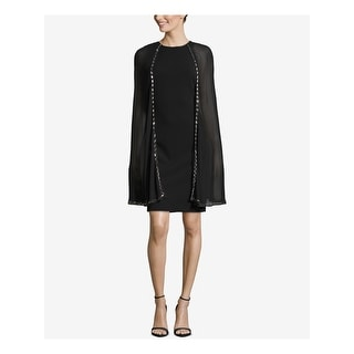 Link to BETSY & ADAM Black Sleeveless Above The Knee Shift Dress  Size 2 Similar Items in Petites