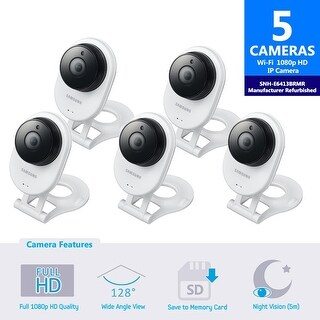 5 Pack SNH-E6413BMR - Samsung HD WiFi IP Camera with 16GB microSD Card (Refurbished)