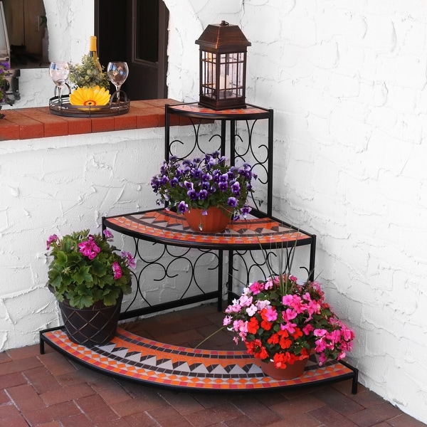 Sunnydaze 3 Tier Step Mosaic Tiled Outdoor Corner Display Shelf - 40 Inch Tall