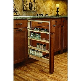Rev-A-Shelf 432-BFBBSC-6C 6 Inch Filler Pullout Organizer with Ball Bearing Soft-Close Sides and Adjustable Shelves - N/A
