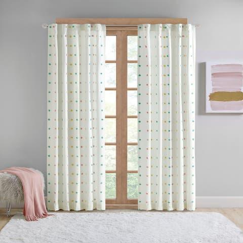 "Intelligent Design Ensley Cotton Jacquard Pom Pom Single Window Panel - 50""W X 84""L"