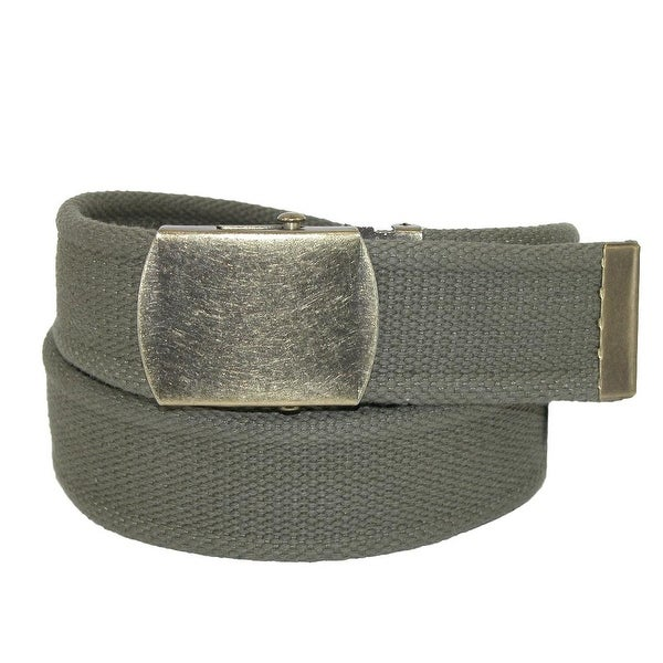 CTM® Cotton Web 1.5 Inch Adjustable Military Buckle Belt