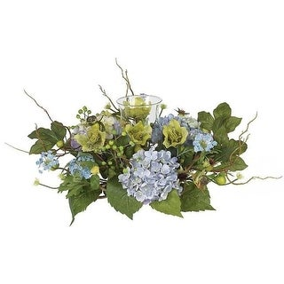 Nearly Natural 4632-BL Hydrangea Candleabrum Centerpiece- Blue