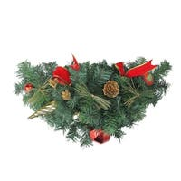"""24"""" Pre-Decorated Red and Gold Ball Ornaments and Bows Artificial Christmas Swag - Unlit"""