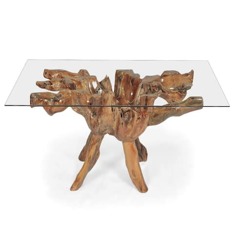 Teak Wood Root Dining Table with 43 inch Square Glass Top