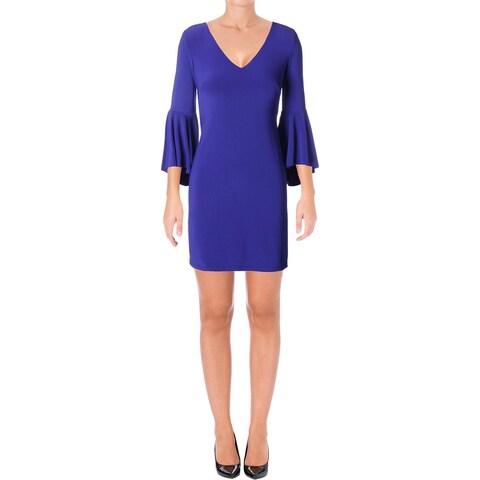 Lauren Ralph Lauren Womens Cocktail Dress Jersey Flounce Sleeves