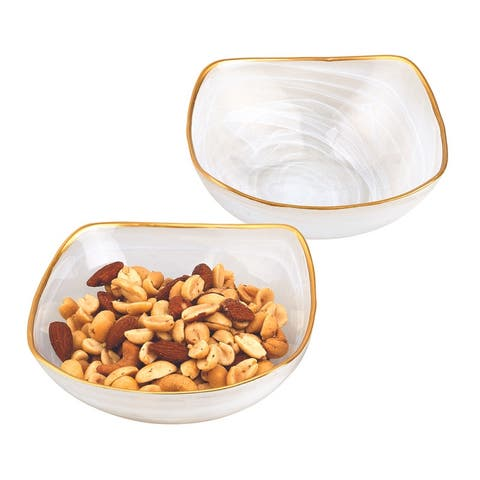 """Pair of White Alabaster 6"""" Square Glass Bowls With Gold Rim"""