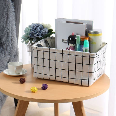 Collapsible Large Storage Basket Toy Bin with Durable Cotton Handles