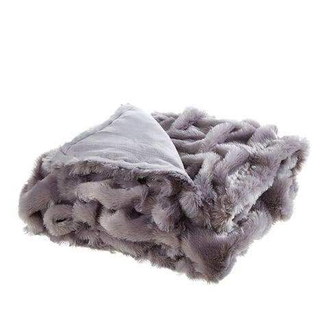 "Akela 50""x60"" Stitched Faux Fur Throw"