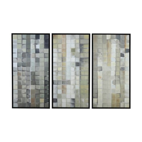 "Dimond Home 7011-1461/S3 Gray Tiles 50"" x 24"" Three Piece Framed Painting on Hand Stretched Canvas"