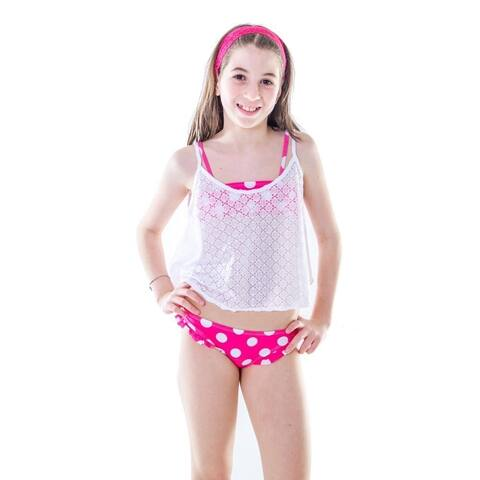 Little Girls White Solid Color Lace Sleeveless Swimwear Camisole Top - 2T/4T