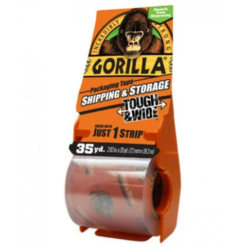 "Gorilla 6045002 Tough & Wide Packaging Tape w/ Dispenser, Clear, 2.83"" x 35 Yd"