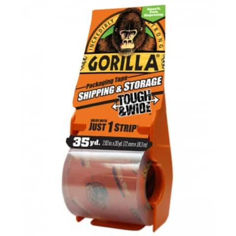 "Gorilla 6045002 Tough & Wide Packaging Tape w/ Dispenser, Clear, 2.83"" x 35 Yd"