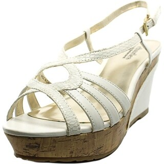 Charles By Charles David Thesis Women Open Toe Leather White Wedge Sandal