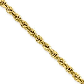 Stainless Steel IP Gold-plated 4.0mm 18in Rope Chain (4 mm) - 18 in