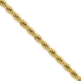 Stainless Steel IP Gold-plated 4.0mm 30in Rope Chain (4 mm) - 30 in