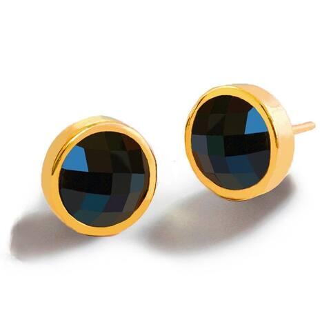 FIRE Black Onyx Gemstone Stud Earrings in 24K Gold