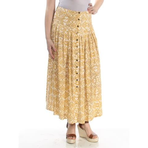 FREE PEOPLE Womens Yellow Printed Maxi Skirt Size: 0