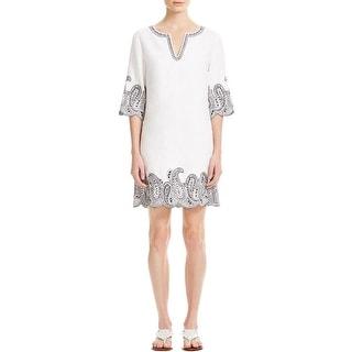 MICHAEL Michael Kors Womens Tunic Dress Linen Embroidered