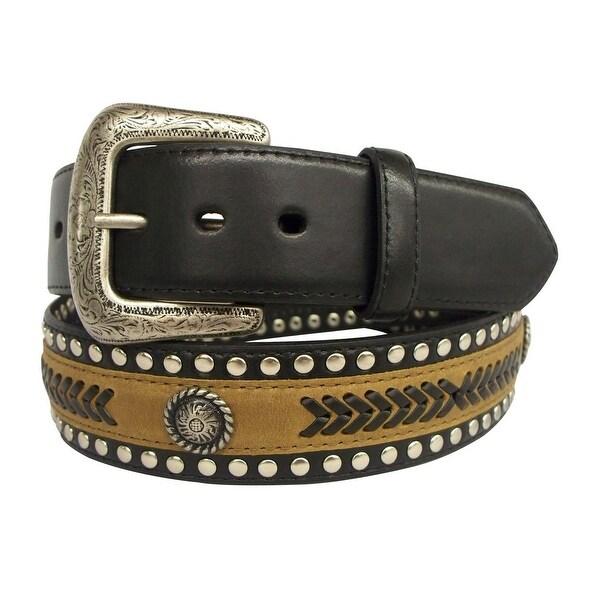 G-Bar-D Western Belt Mens Leather Silver Finish Black Brown