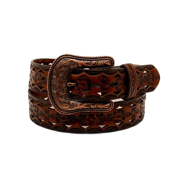 Ariat Western Belt Womens Cutouts Scroll Tooled Filigree Tan