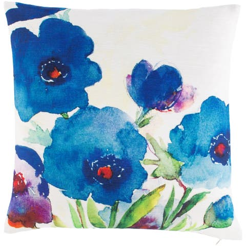 Alys Bright Watercolor Floral Throw Pillow