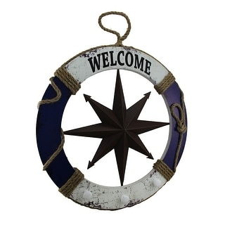 24 Inch Diameter Wood and Metal Nautical Life Ring Welcome Sign - 23.5 X 23.5 X 1 inches