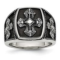Chisel Stainless Steel Polished and Antiqued Cross Ring