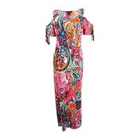 Msk Women's Cold-Shoulder Paisley Print Maxi Dress - Teal Red Multi