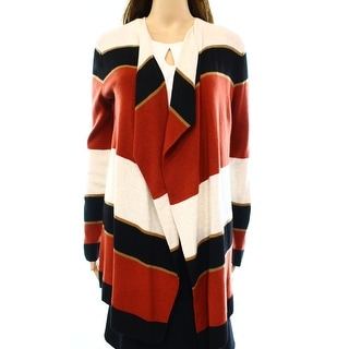 INC NEW Red Women's Size Small S Draped Striped Cardigan Sweater