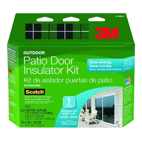3M 2174W-6 Outdoor Patio Door Insulator Kit, 1-Patio Door