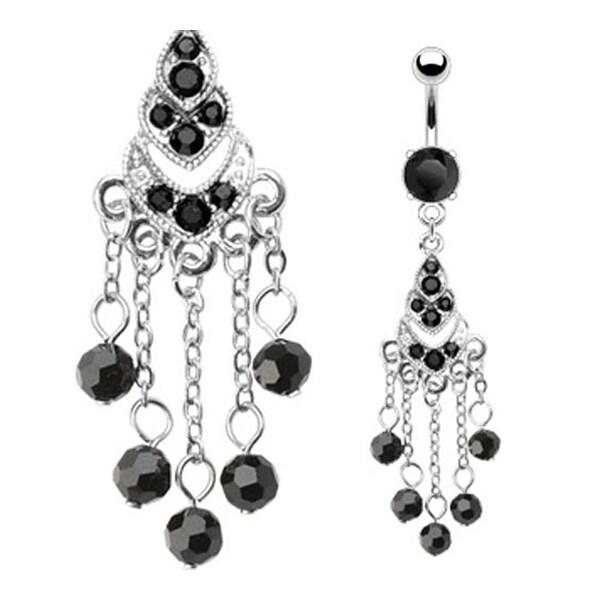 Prong-Set Black Gem Navel Belly Button Ring with Black Gem Chandelier & Dangle