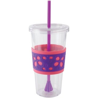 Copco Sierra Cold Tumbler with Straw, 24-Ounce, Pink/Purple Butterfly