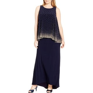 Betsy & Adam Womens Plus Evening Dress Embellished Popover