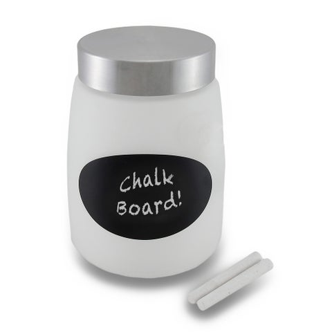 Frosted Glass Storage Jar w/Metal Lid and Chalkboard Label