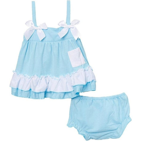 Wenchoice Baby Girls Light Blue Bow Ruffles Swing Top Set