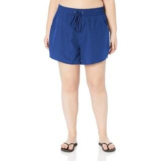 24th & Ocean Women Swimwear Blue Size 22W Plus Drawstring Board Shorts