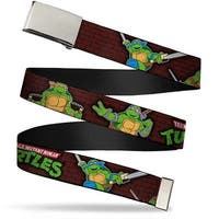 Blank Chrome Buckle Classic Tmnt Battle Poses Group Pose7 Webbing Web Web Belt