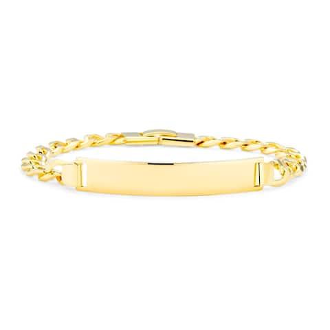 Cuban Curb Chain Identification ID Bracelet 180 Gauge Gold Plated - 8.5