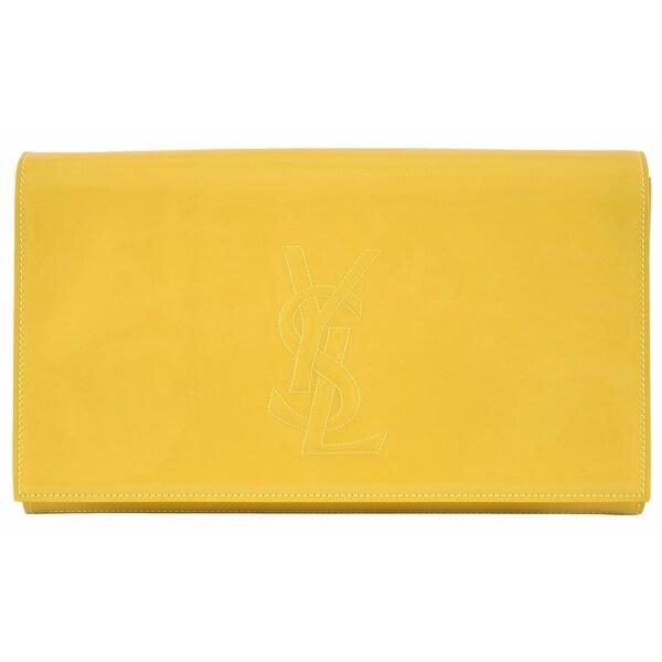 a091cbecf9 Saint Laurent YSL 361120 Yellow Patent Leather Belle de Jour Clutch Bag -  Citron