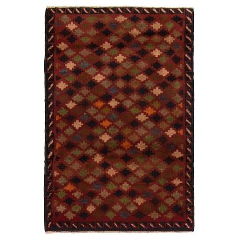 ECARPETGALLERY Hand-knotted Baluch Dark Red Wool Rug - 2'10 x 4'4